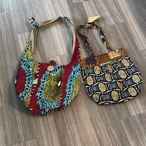 Handbags - Lot of two handmade shoulder bags from Africa